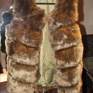 Jungle Green Faux Fur Vest